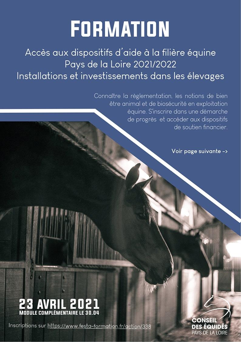 Aide aux investissements filière équine Pays de la Loire - formation le 23 avril 2021