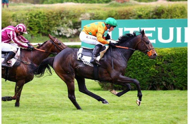 Grand Steeple-Chase : les spectaculaires images de la victoire du cheval mayennais Docteur de Ballon