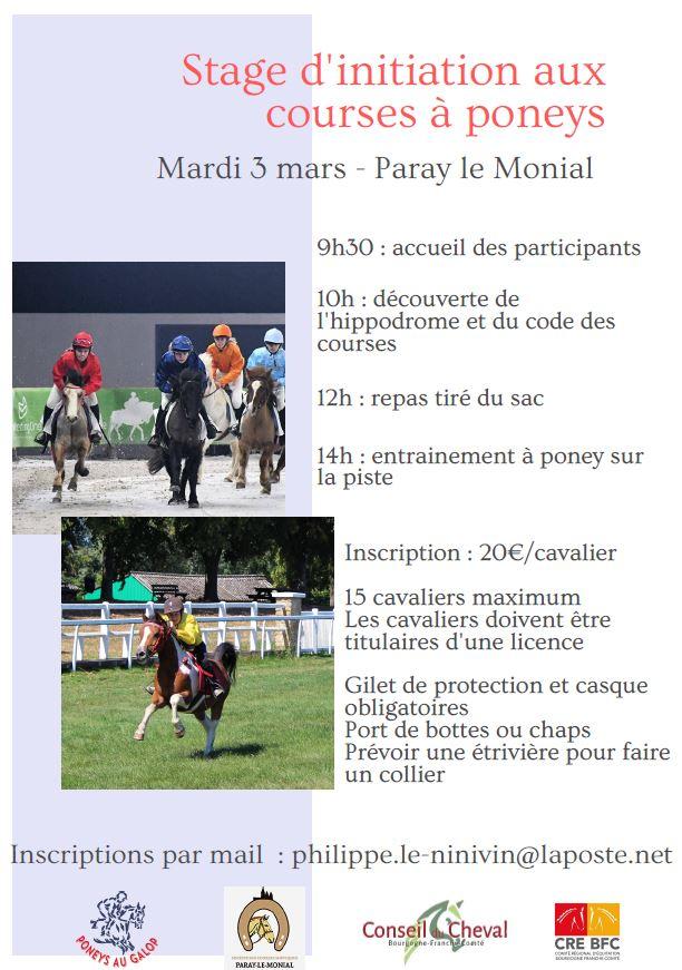 Stage d'initiation aux courses de poneys
