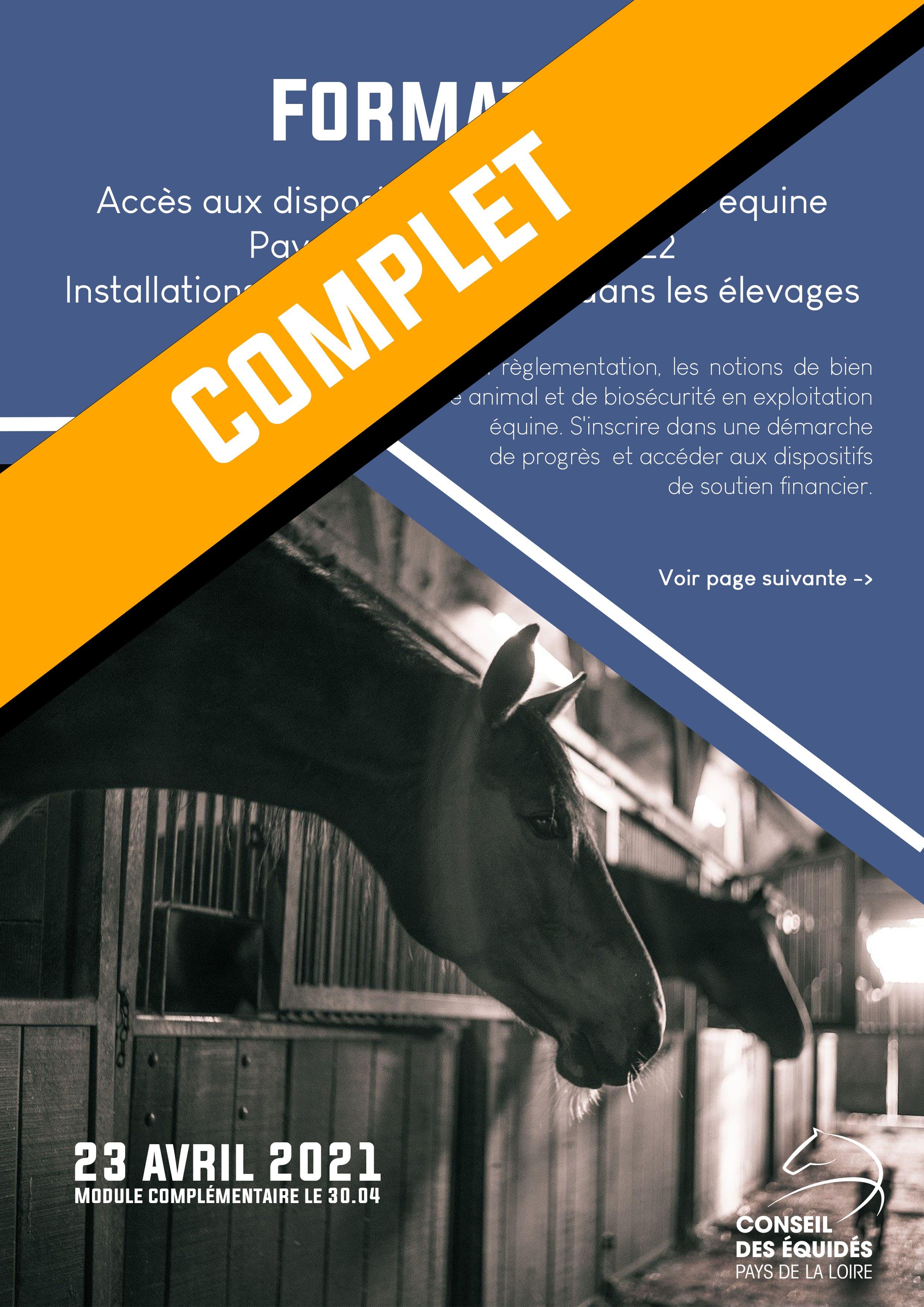 Aide aux investissements filière équine Pays de la Loire - formation le 23 avril 2021 [Complet]